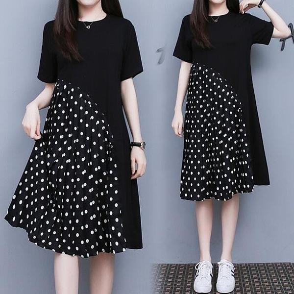 洋裝拼接裙子中大尺碼M-4XL波點短袖連身裙百褶裙寬鬆中長款長裙4F101-9852.胖丫