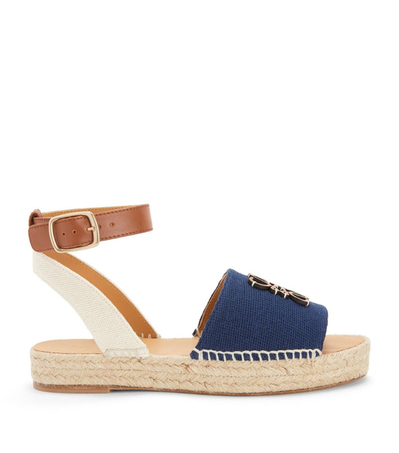 Loewe + Paula'S Ibiza Leather And Canvas Anagram Espadrilles