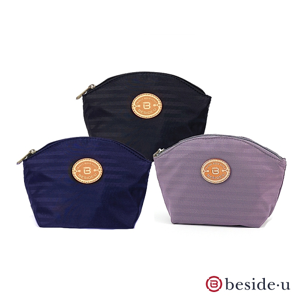 BESIDE U 官方直營 BKS 質感真皮皮標大容量化妝包手拿包 - 黑色、藍色、紫色