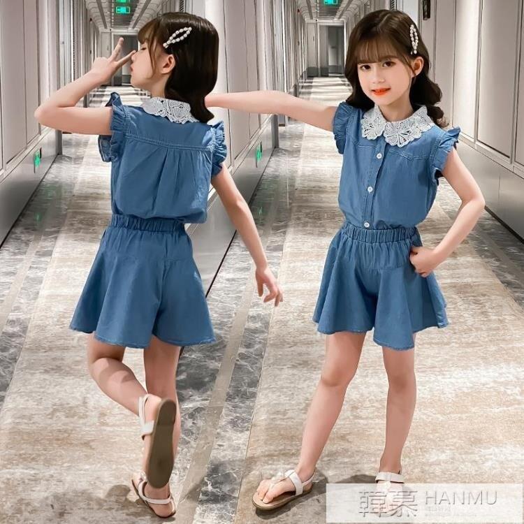童裝女童夏裝套裝新款中大童兒童時尚洋氣女孩時髦潮衣兩件套 摩可美家