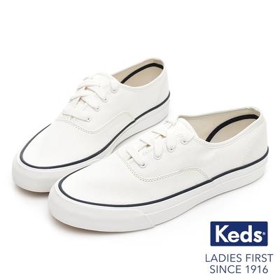 Keds SURFER 極簡線條時尚有機棉休閒鞋-白