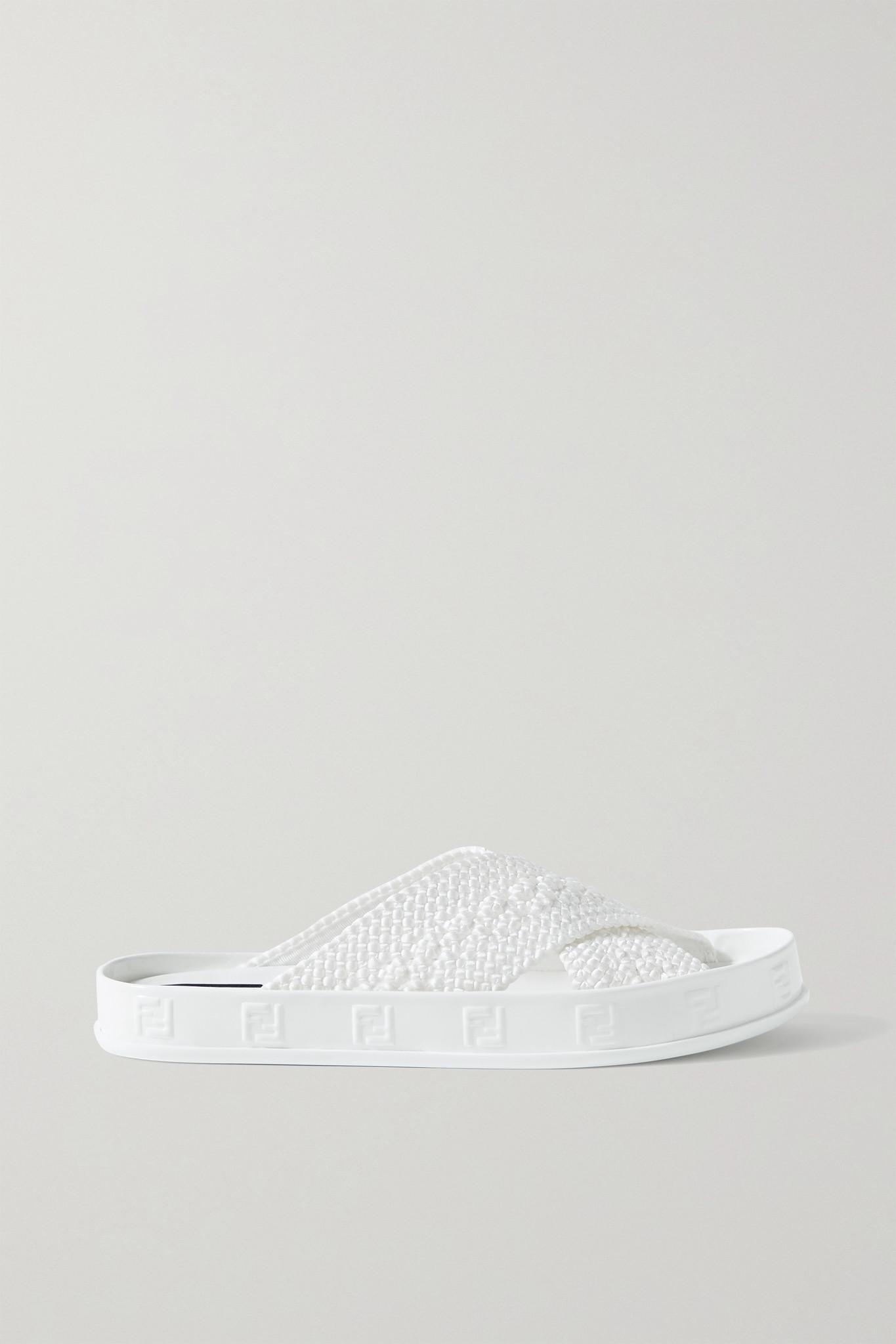 FENDI - Braided Satin Slides - White - IT39.5