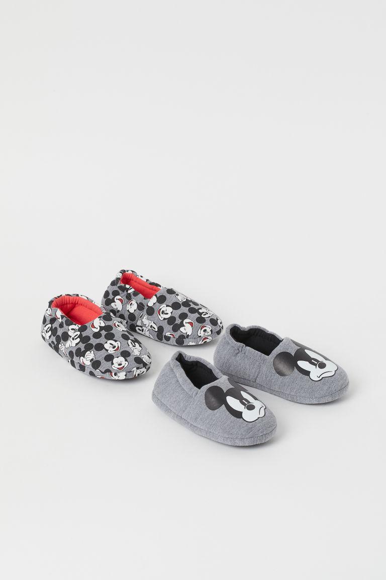 H & M - 2雙入柔軟家居鞋 - 灰色