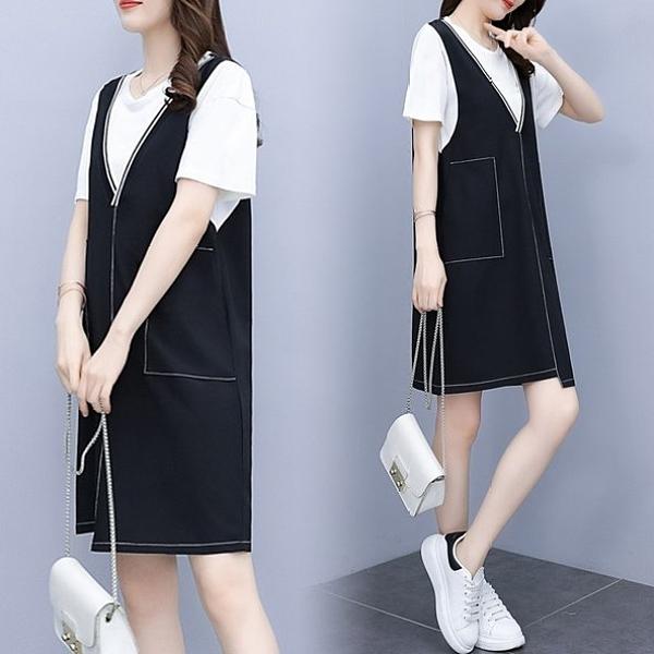 洋裝 連身裙 長版衣L-5XL中大尺碼洋氣顯瘦假兩件套連身裙5F013.898胖丫