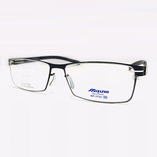【MIZUNO】美津濃 鈦金屬 無螺絲 光學眼鏡鏡框 MF-1712 C5 長方形鏡框眼鏡 黑 55mm