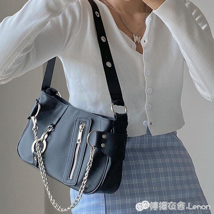 小眾設計腋下包新款歐美潮流尼龍布錬條手提女包法棍包