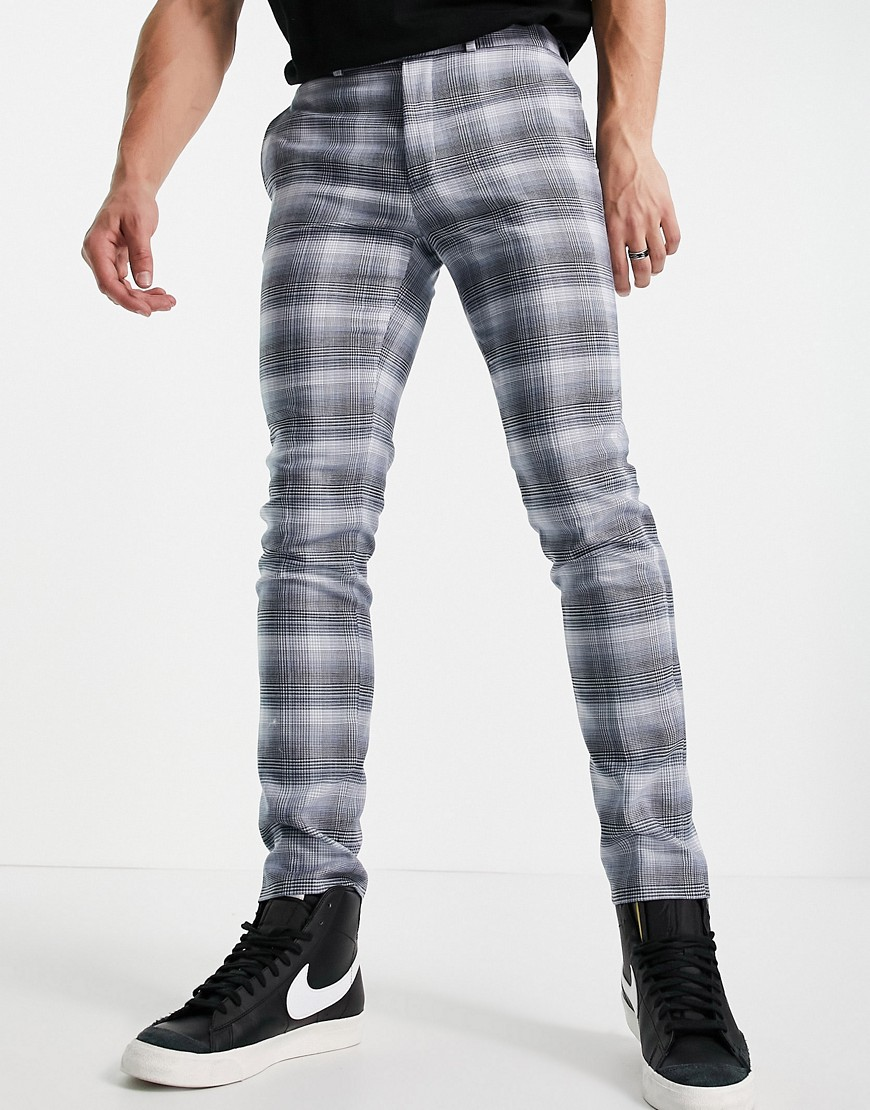 Topman skinny fit check suit trouser in blue
