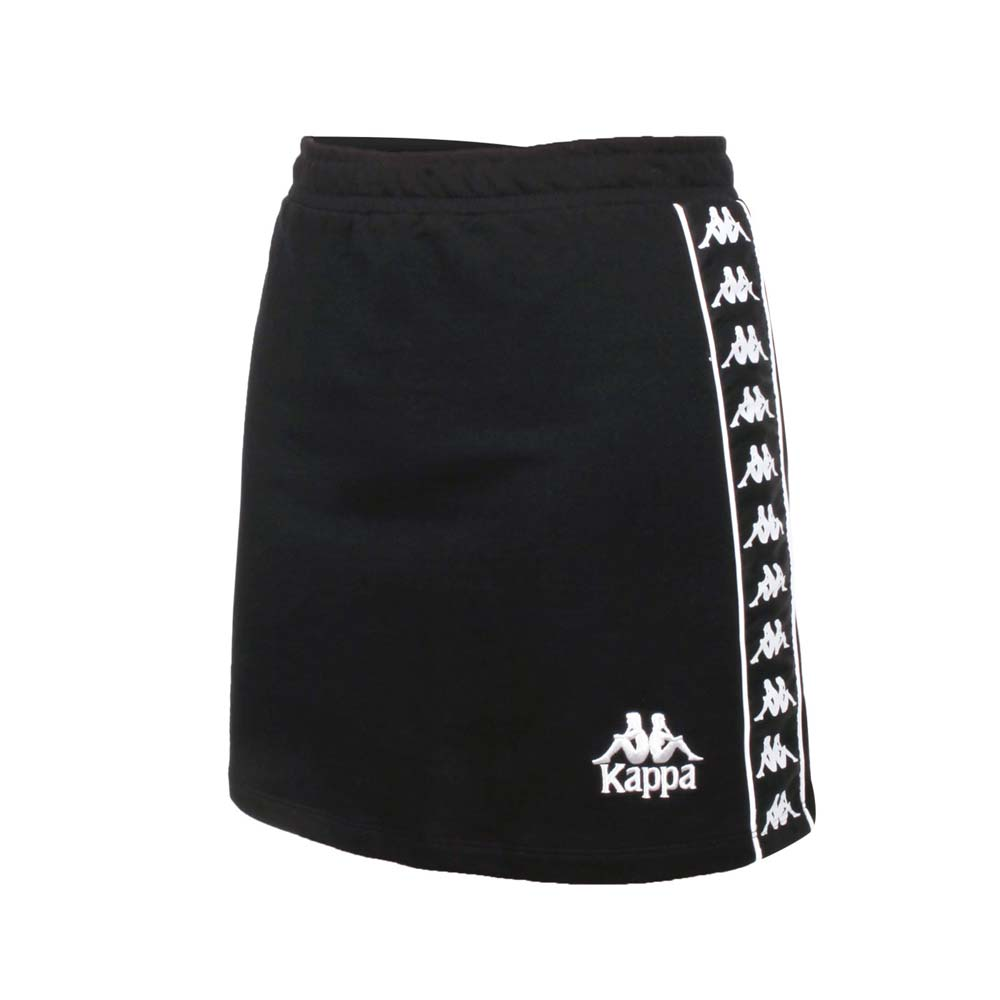 KAPPA 女短裙-台灣製 休閒 純棉 A字裙 裙子 黑白