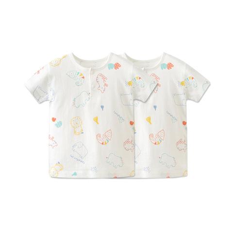 【Cloudy雲柔系列】麗嬰房 動物塗鴉印花針織短袖兩粒扣套裝-兩件組(76cm~130cm)