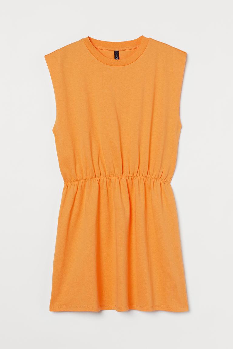 H & M - 平紋洋裝 - 黃色