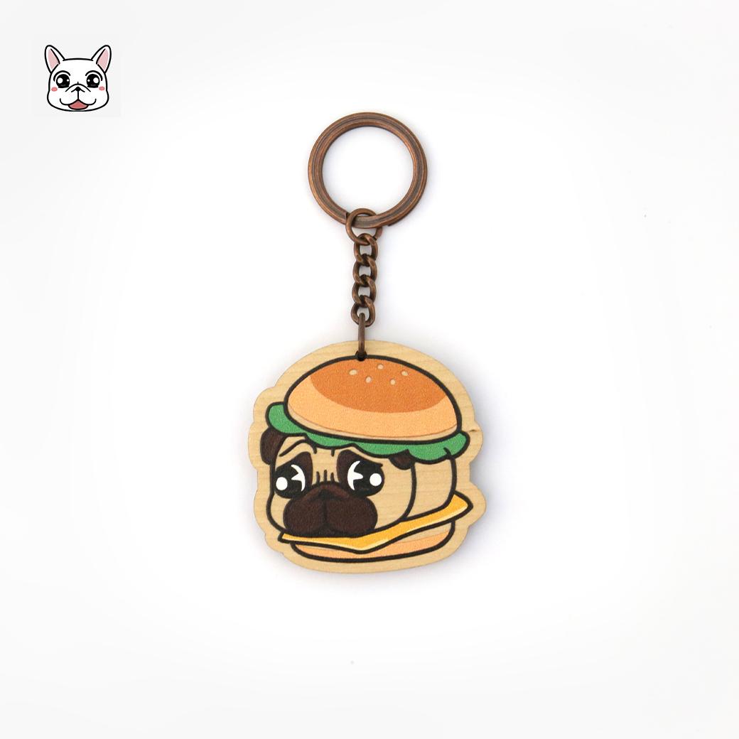 豆卡頻道_木頭鑰匙圈-八寶漢堡
