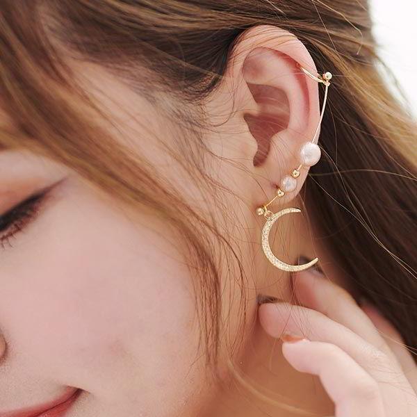 水鑽月亮右耳單支耳骨夾耳環