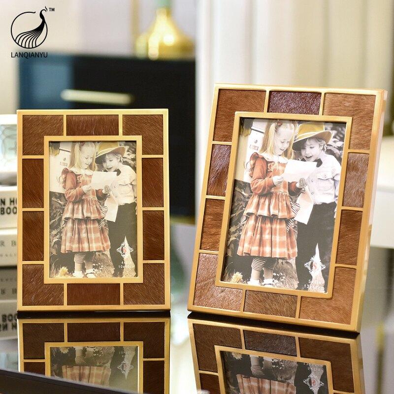 現代簡約美式輕奢家居裝飾擺件床頭櫃相框擺臺別墅工藝品照片擺臺  LQY3 愛尚優品