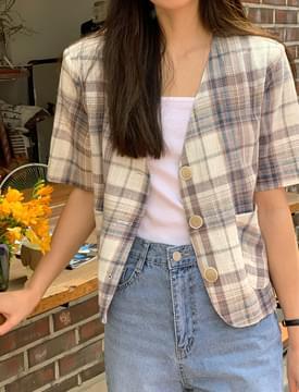 韓國空運 - Light Check Linen Short Sleeve Jacket 夾克