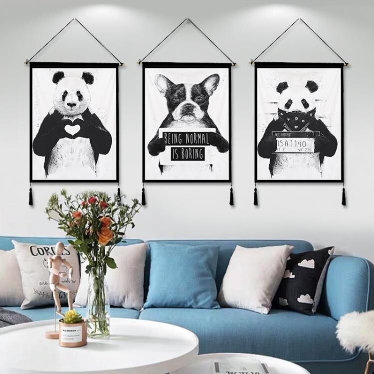 簡約動物圖案掛布掛毯背景布ins布藝墻布網紅掛畫壁毯電表箱掛飾 摩可美家