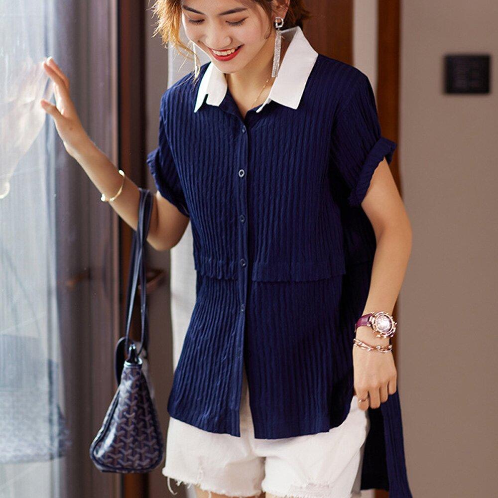 【麗質達人】QF2830藍色假二件襯衣(L-5XL)