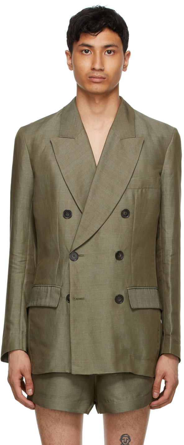 Carlota Barrera 军绿色 Lightweight 双排扣西装外套