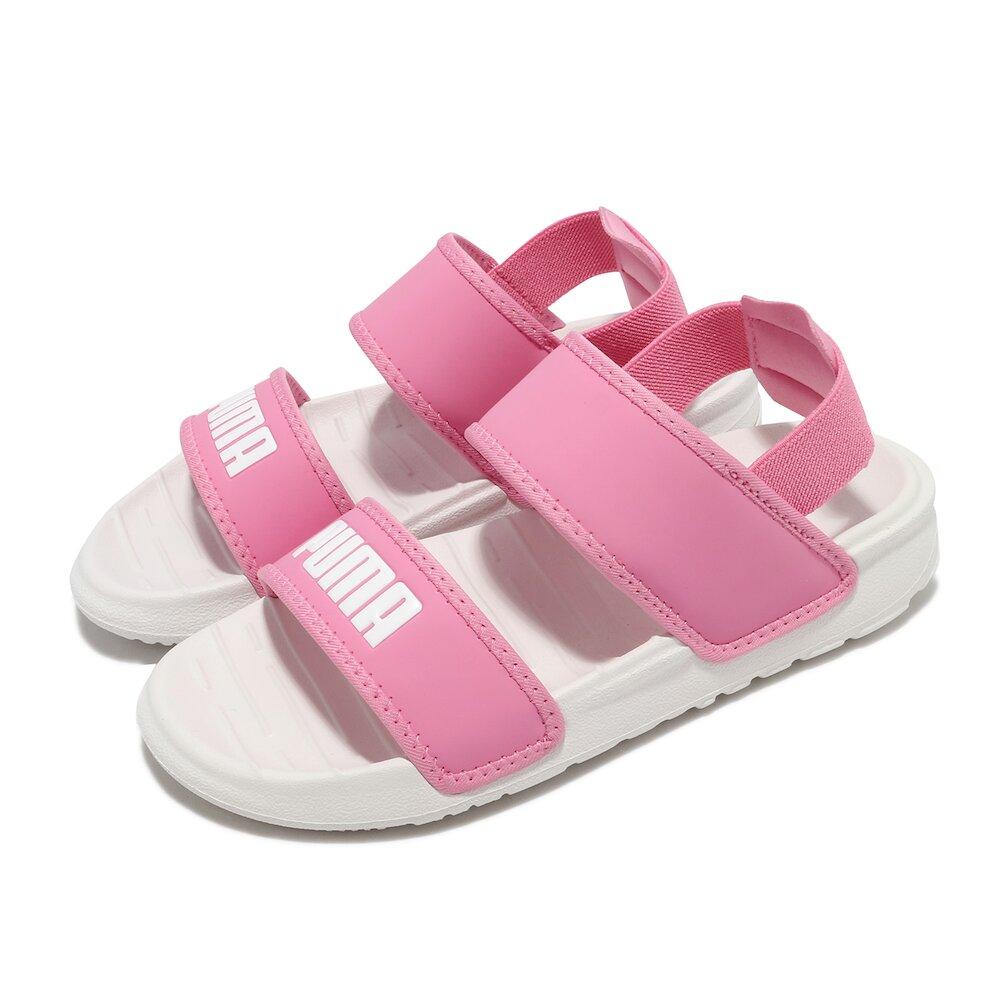 PUMA 涼鞋 Soft Sandal 休閒 童鞋 彈力束帶 夏日 透氣 輕便 百搭 中童 粉 白 [37569503]