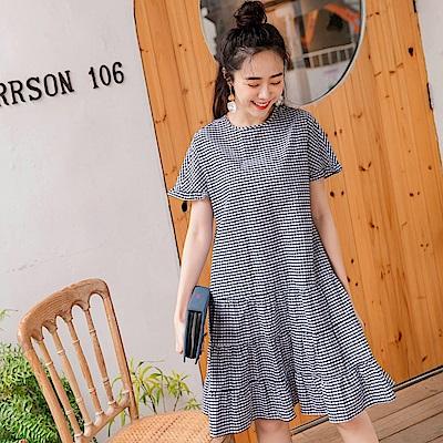iMODA STAR-高含棉輕薄格紋配色短袖蛋糕洋裝