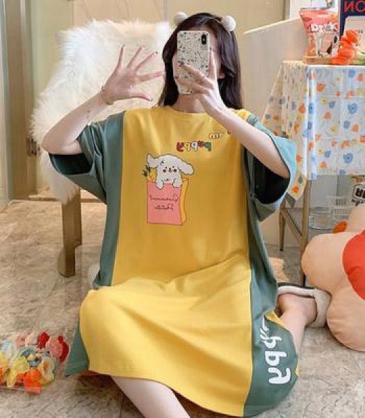 寬松圓領新款睡裙長裙可外穿針織棉睡衣女卡通印花季休閑室內服1F057胖妞衣櫥