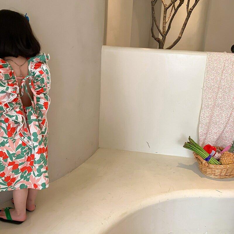 童裝2021夏裝新款韓版女童大花飛袖連衣裙兒童無袖花邊