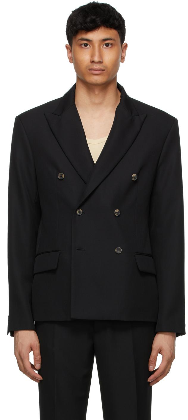 Second/Layer 黑色 Pico 初剪羊毛双排扣西装外套