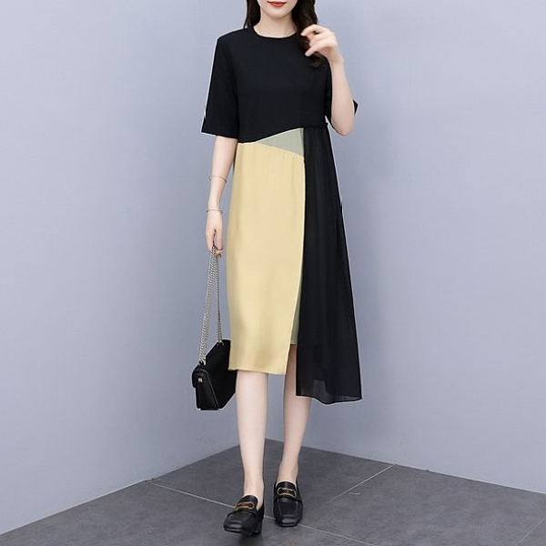 長版衣 洋裝 連身裙L-5XL中大尺碼 拼接裙洋氣顯瘦拼色連身裙5F013.892胖丫