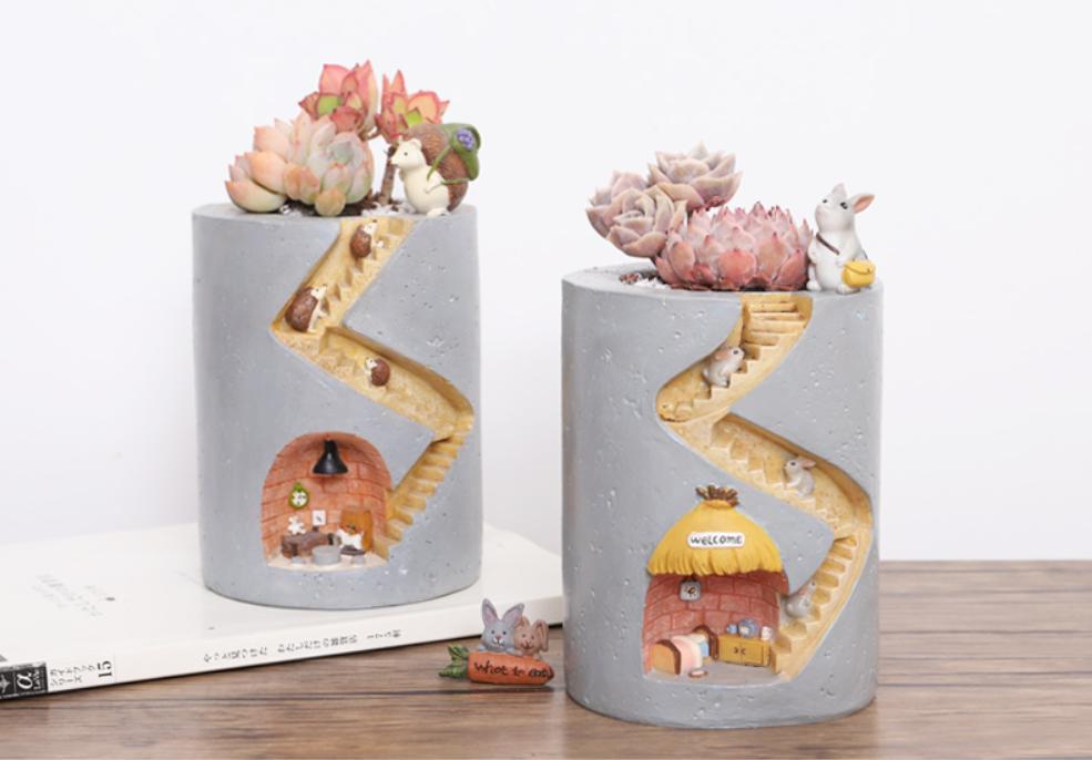 創意美式卡通刺猬多肉花盆創意個性微景觀盆栽肉肉花器裝飾小擺件