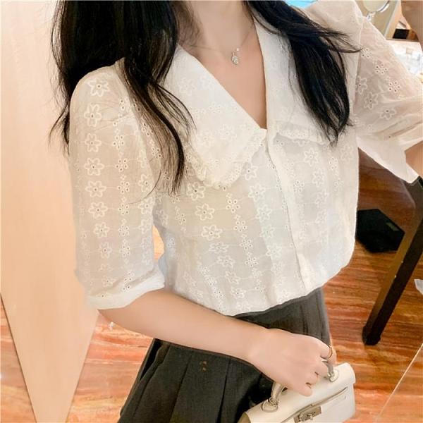雪紡上衣襯衫法式設計感娃娃領蕾絲襯衫夏季甜美小衫優雅洋氣簡約上衣NE238紅粉佳人