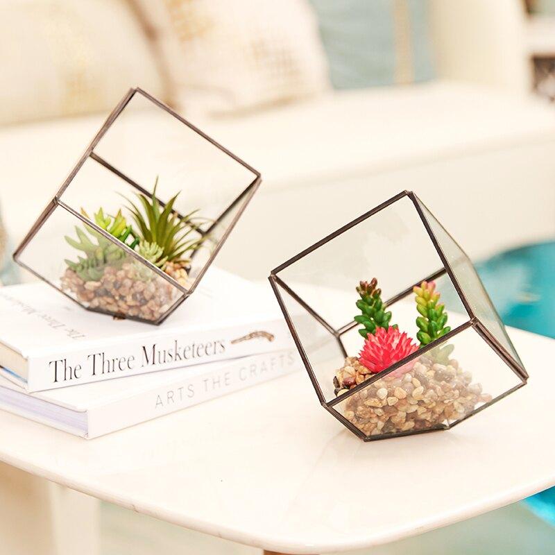 北歐仿真多肉擺件diy微景觀幾何玻璃花房綠植物假花裝飾桌面擺設