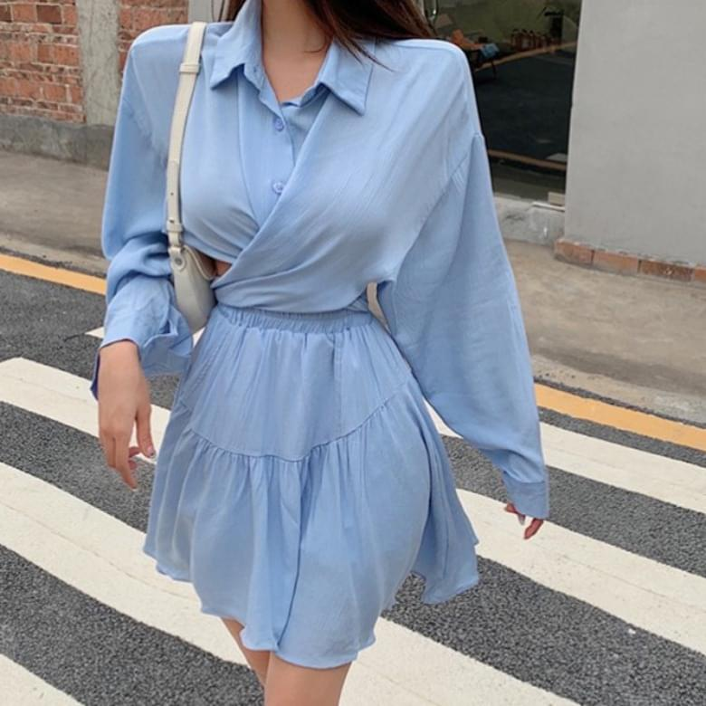 韓國空運 - Plia Chic shirt banding two-piece 套裝