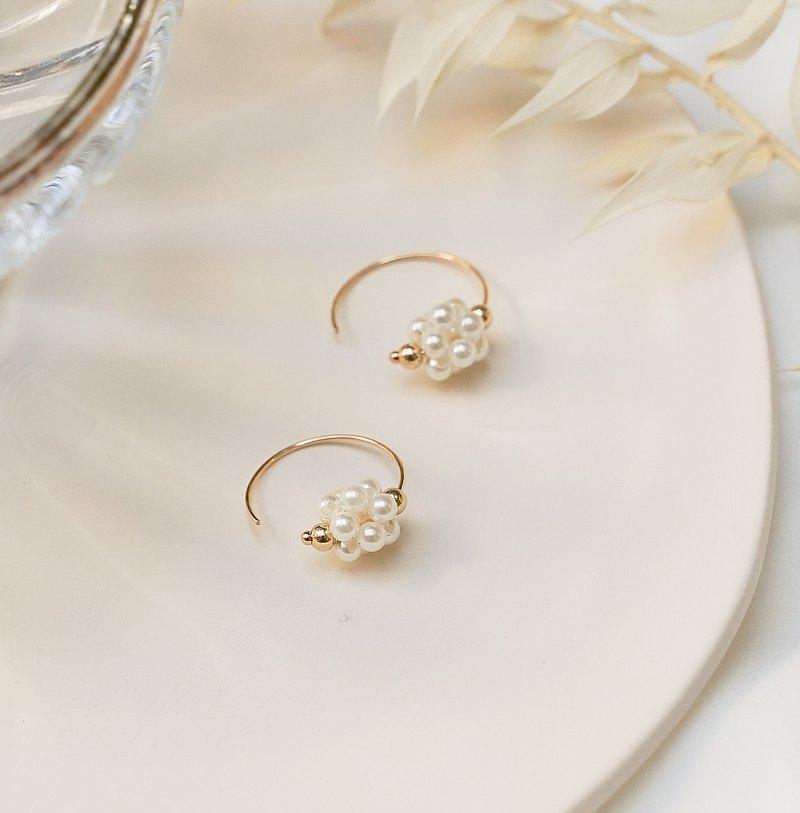 花繡珍珠 14k包金 手工珍珠耳環