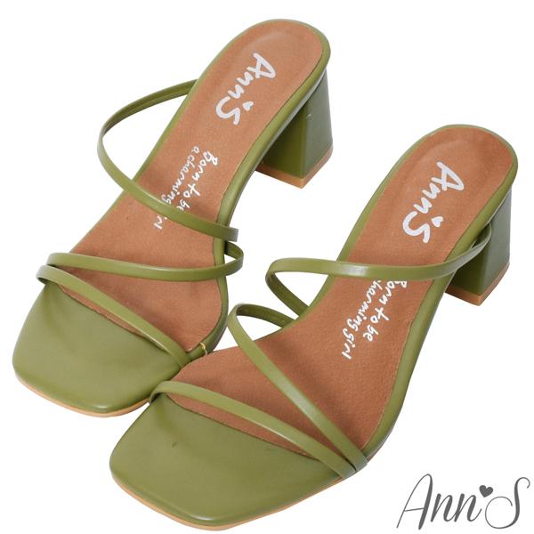 Ann'S魔法美腿術-顯瘦Z型弧度方頭粗跟涼拖鞋6cm-綠