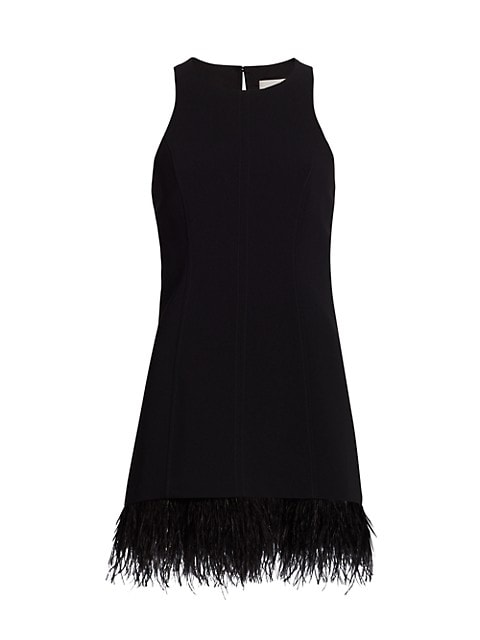 Catherine Feather-Trimmed Mini Dress