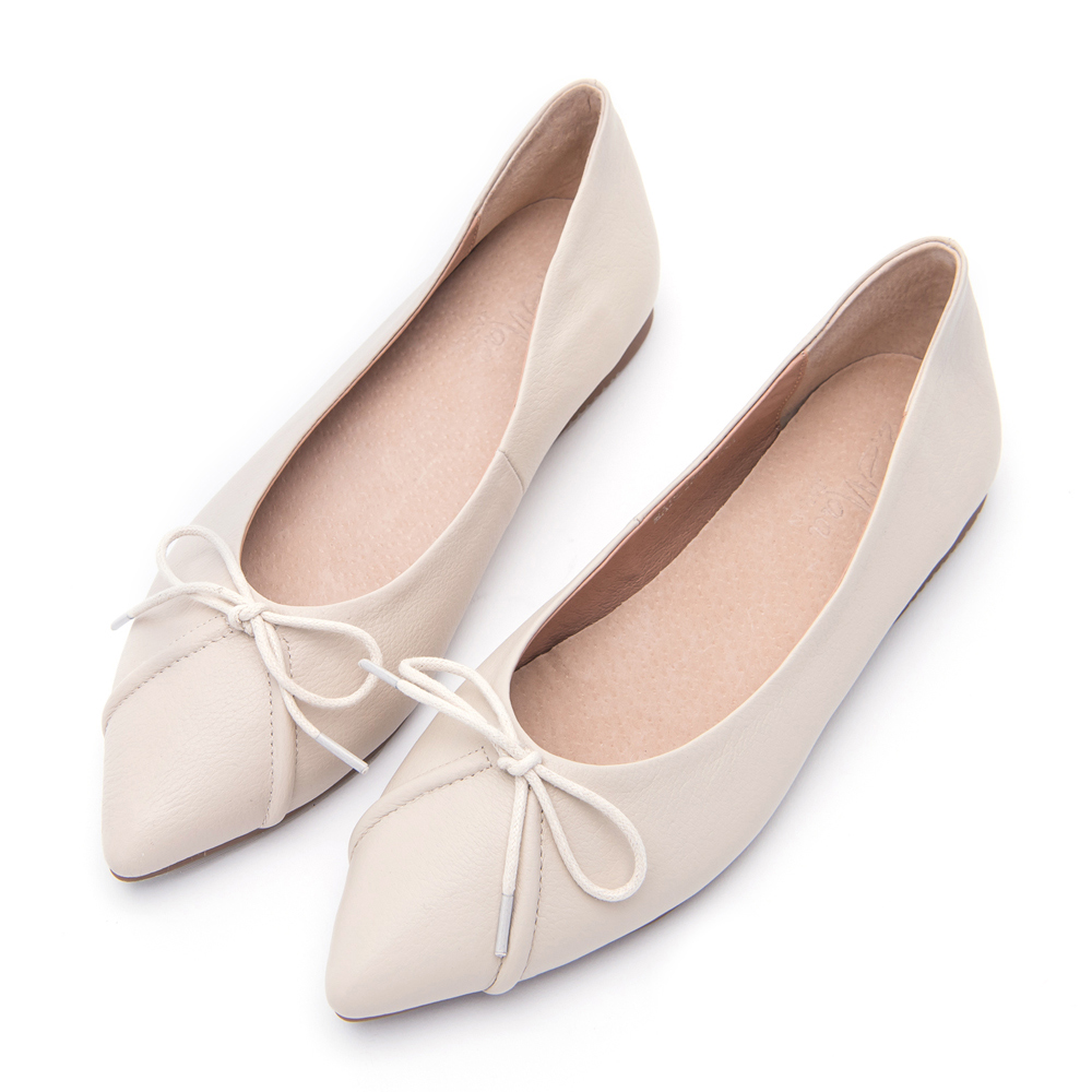 【零碼撈便宜】2.Maa 甜美氣質蝴蝶結尖頭平底包鞋-米