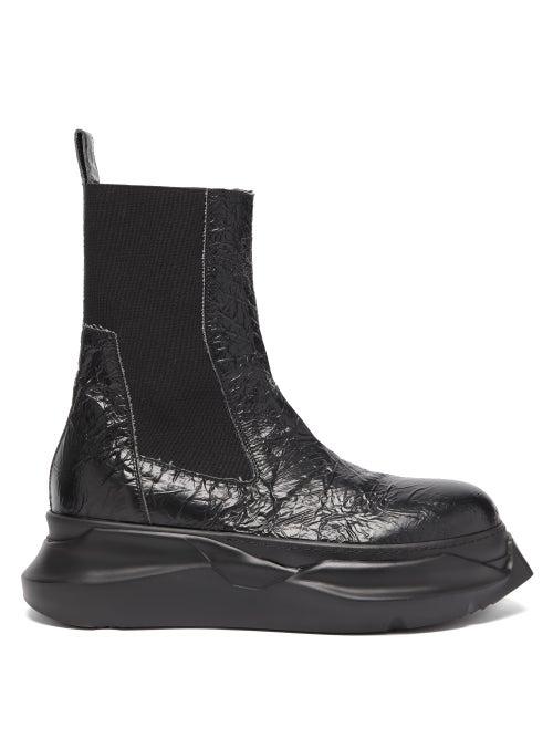 Rick Owens Drkshdw - Beetle Crackled-leather Chelsea Boots - Mens - Black