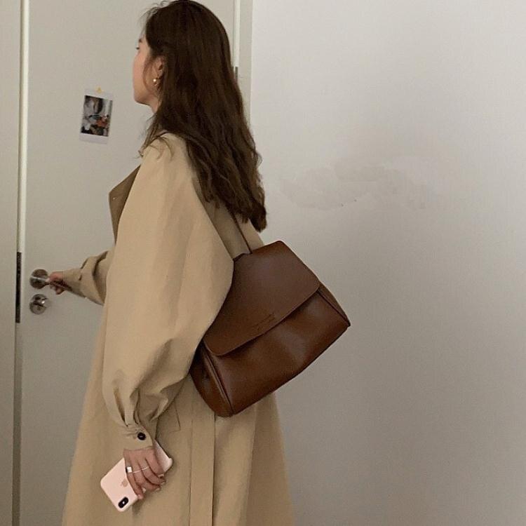 新款潮chic大容量女包濃郁深棕秋冬搭配大衣翻蓋包單肩斜背包