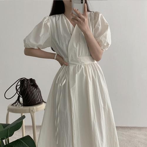 韓國空運 - 交疊V領側綁帶抓皺洋裝 長洋裝