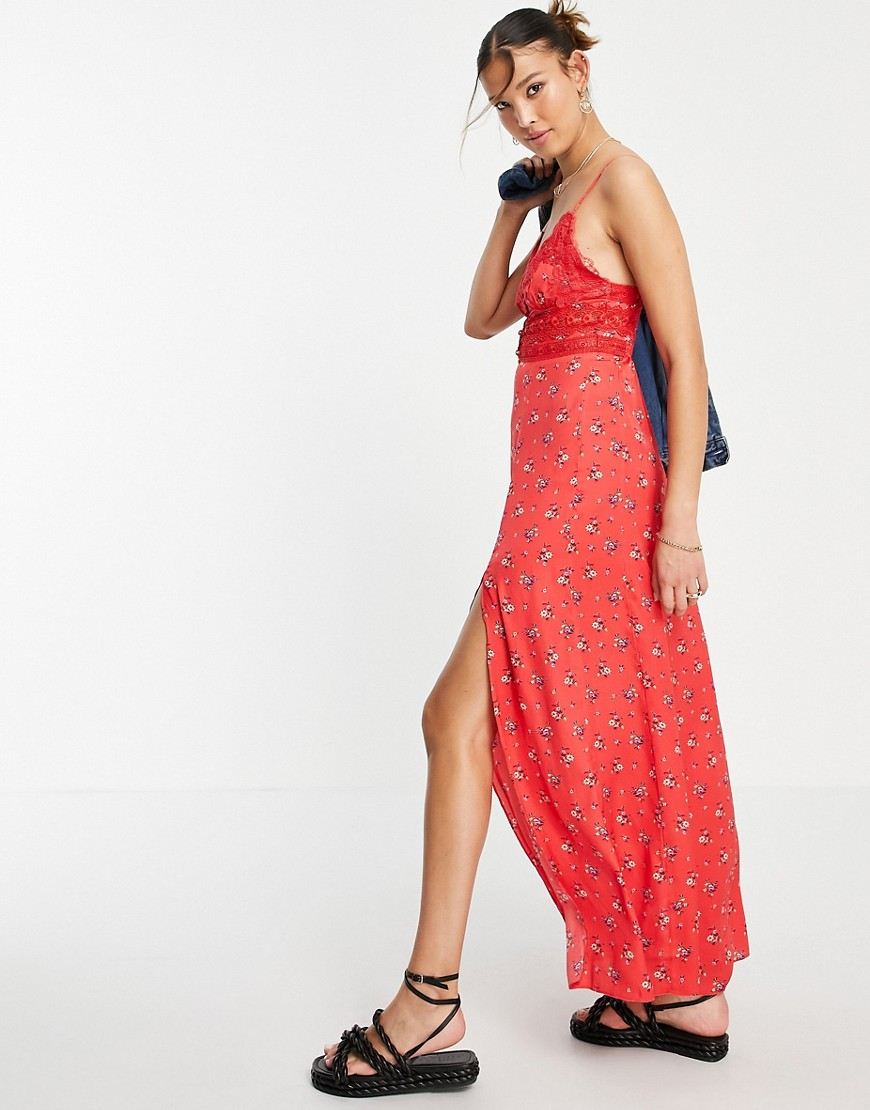 Free People out & about maxi slip dress in ditsy floral-Red