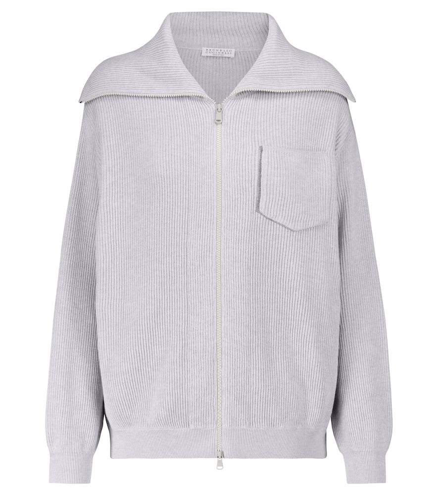 Embellished ribbed-knit cotton cardigan