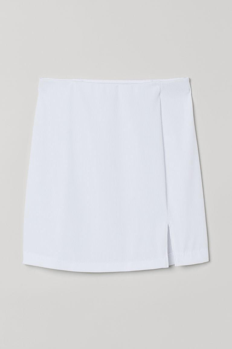 H & M - 合身平紋裙 - 白色