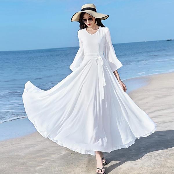 收腰洋裝 2021新款春夏女V領純色雪紡大荷葉袖連身裙修身顯瘦收腰大擺長裙 晶彩