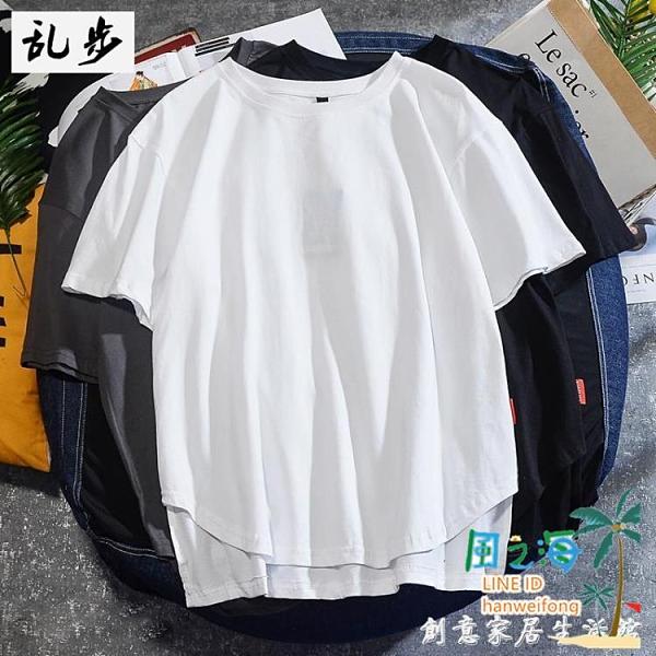 夏季短袖t恤男潮ins時尚個性不規則上衣舒適純棉情侶半袖【風之海】