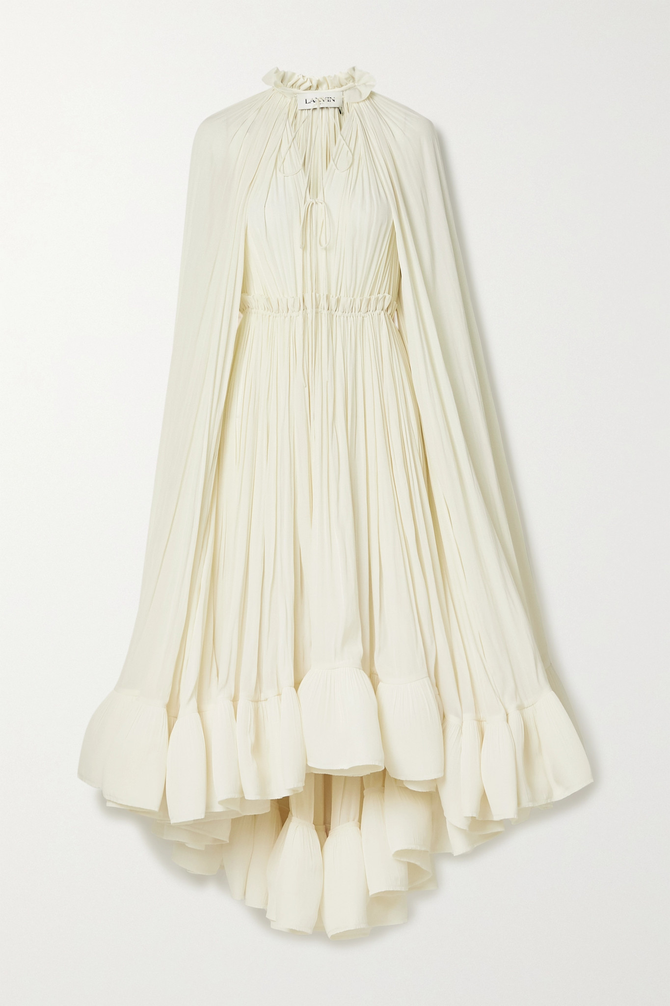 LANVIN - Cape-effect Tie-detailed Ruffled Crepe Dress - Ivory - FR36