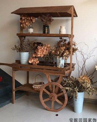 擺地攤售物花車手推車花房櫥窗置物架展示花架多功能做舊鮮花擺件【艾莎嚴選】