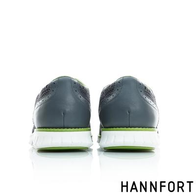 HANNFORT ZERO GRAVITY輕盈編織時尚牛津動能氣墊鞋 男 都會灰