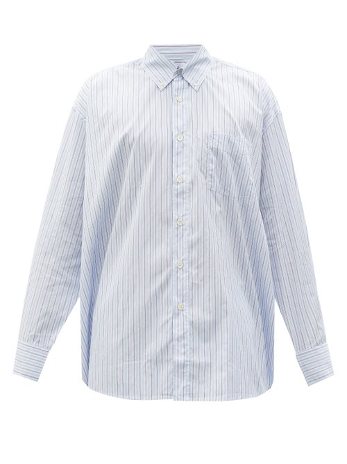 Our Legacy - Borrowed Striped Cotton-poplin Shirt - Mens - Blue