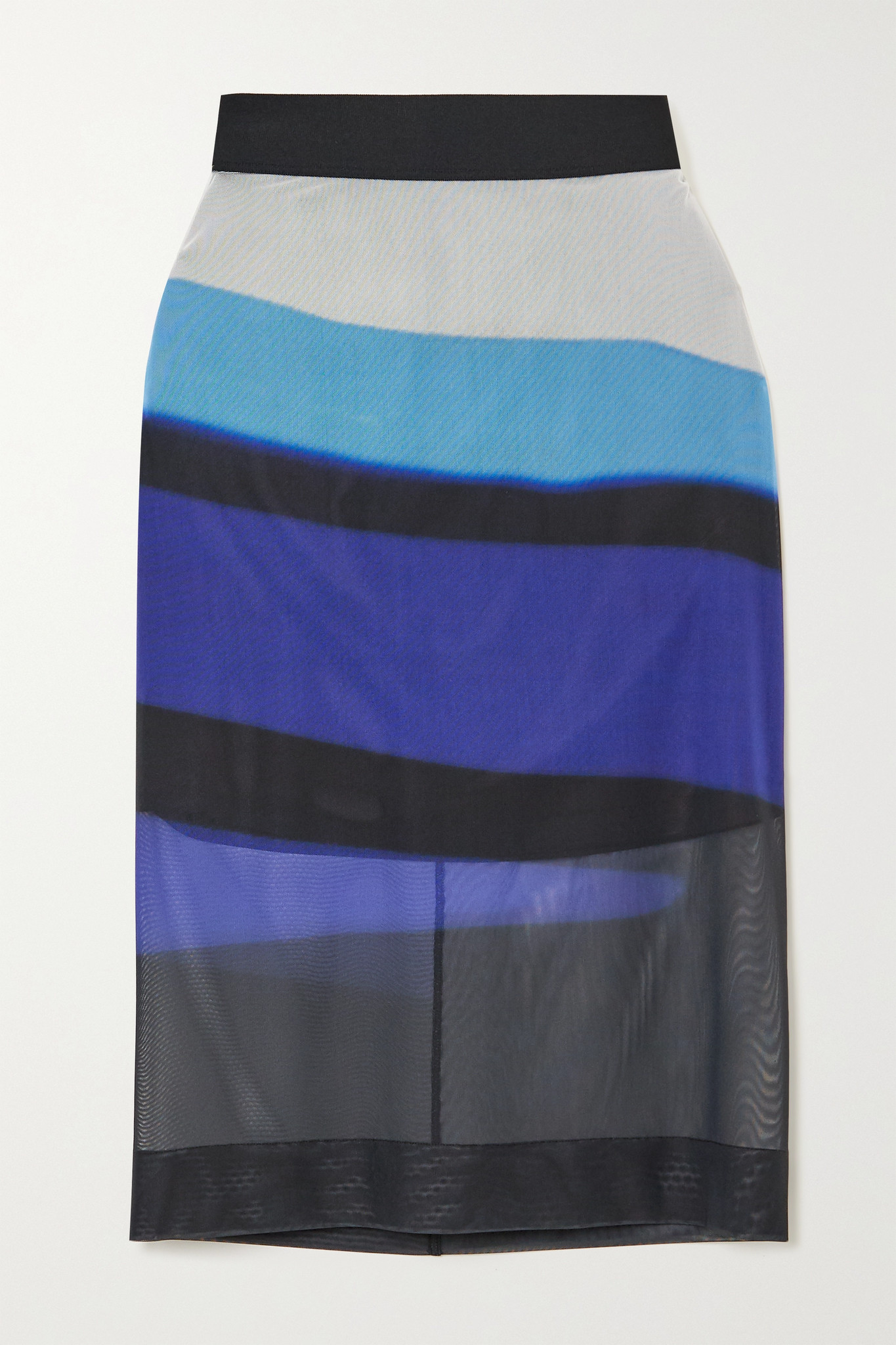 DRIES VAN NOTEN - Striped Stretch-mesh Skirt - Blue - medium