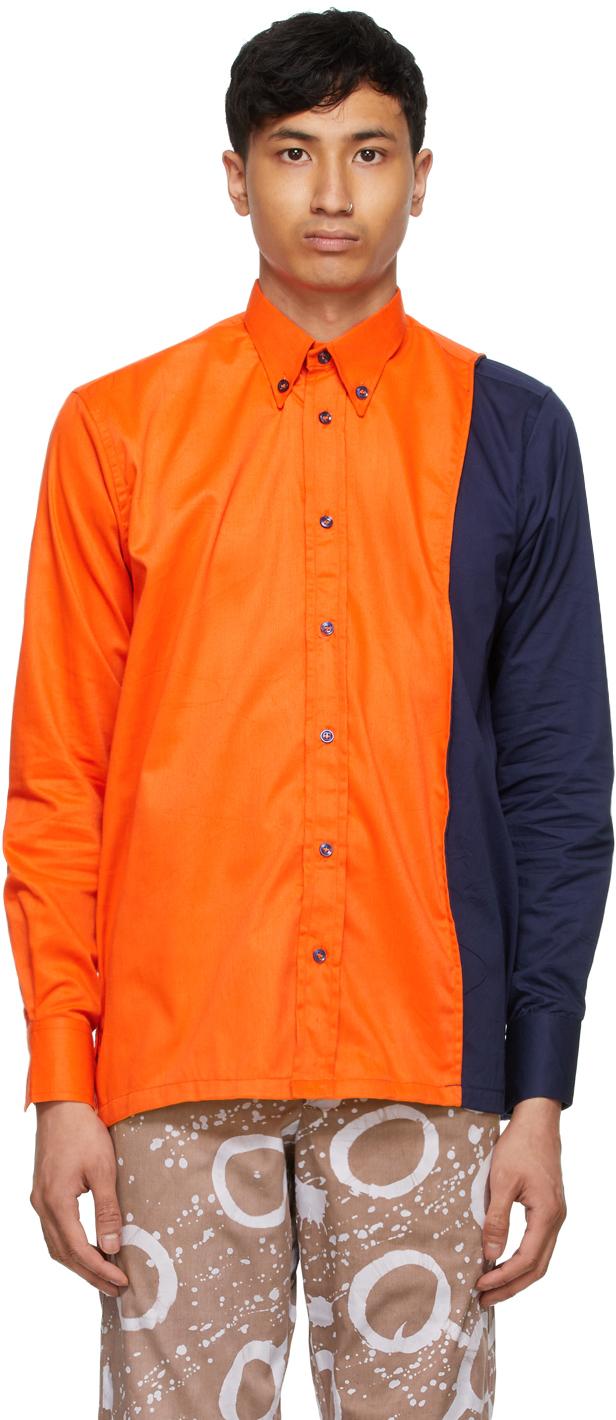 Bloke 橙色拼接衬衫