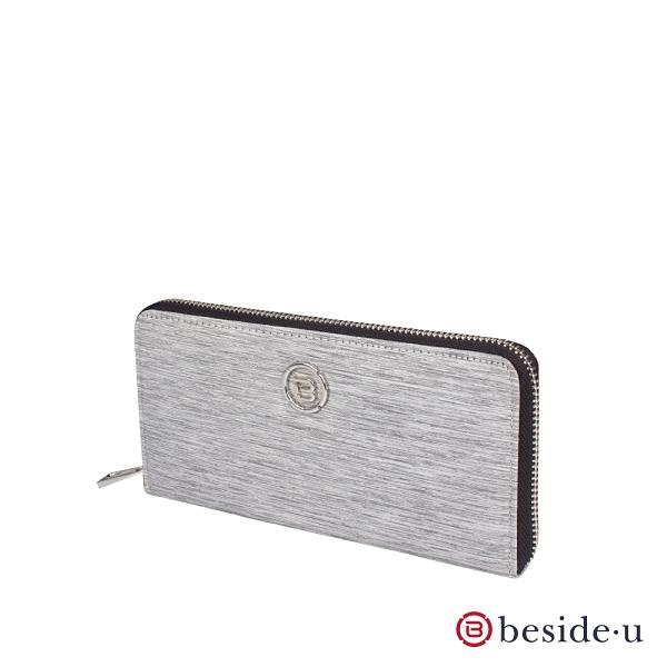 beside u BNUAS 防盜刷全RFID簡約設計女夾長夾皮夾 – 淺灰色線條 原廠公司貨